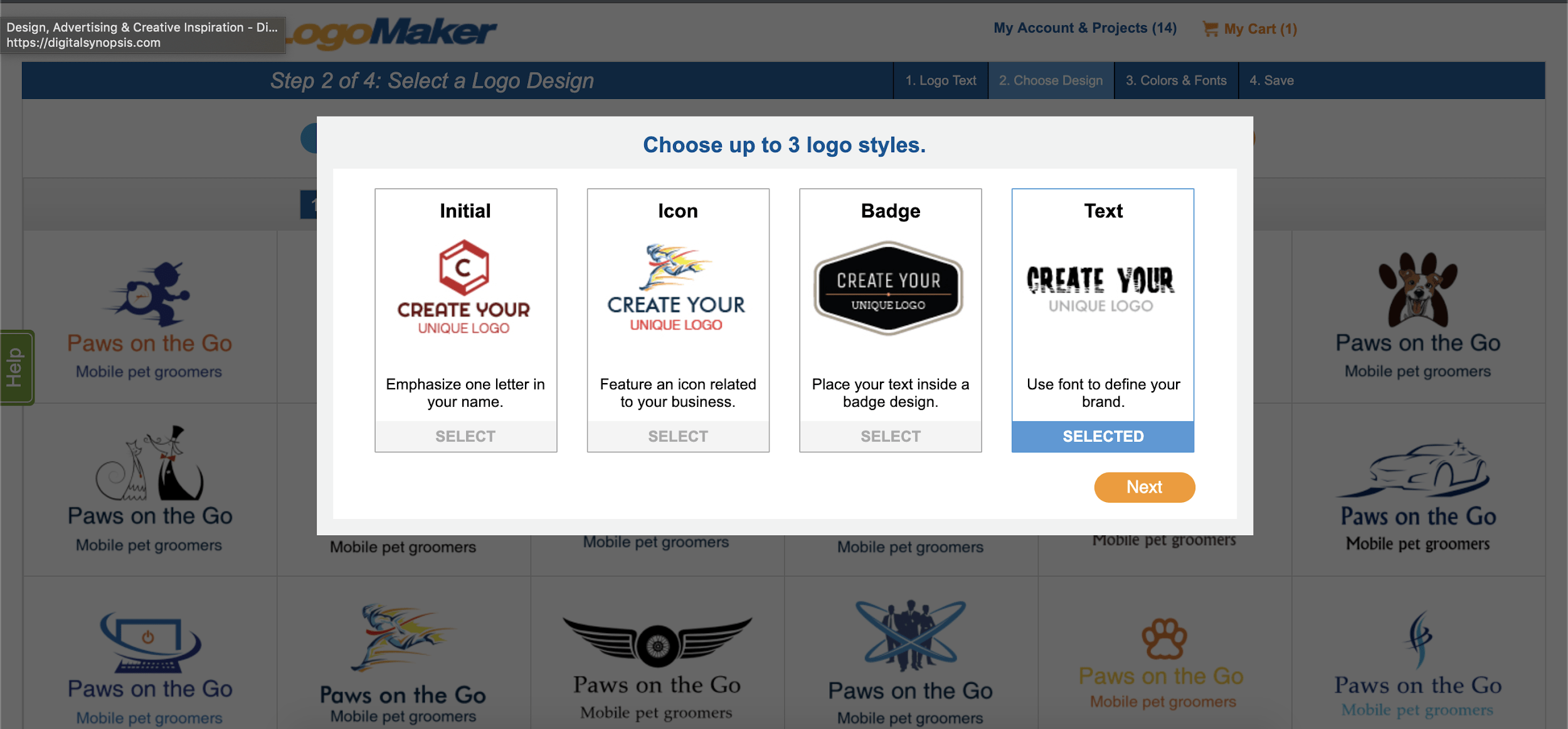 LogoMaker screenshot - Choose logo styles