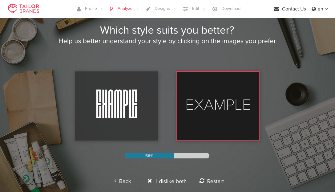 Tailor Brands screenshot - Choose your style