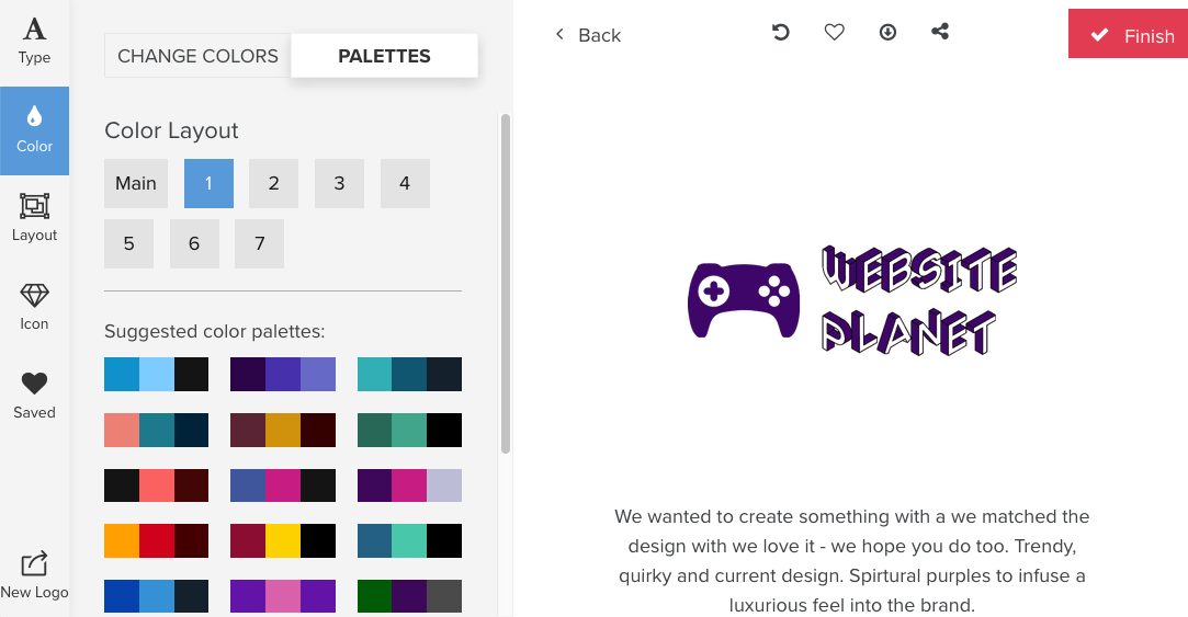 Tailor Brands screenshot - color palettes