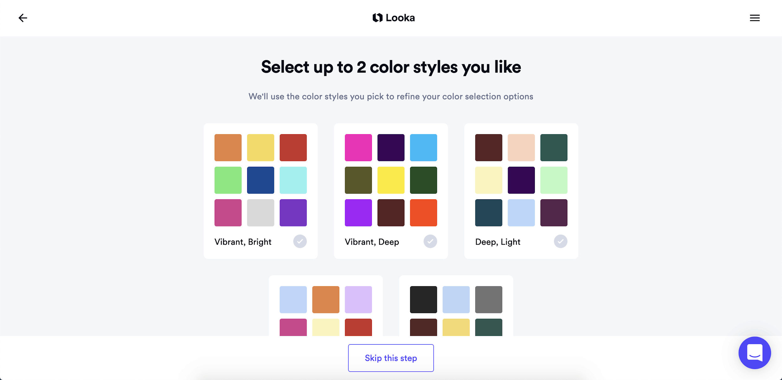 Looka screenshot - Color styles
