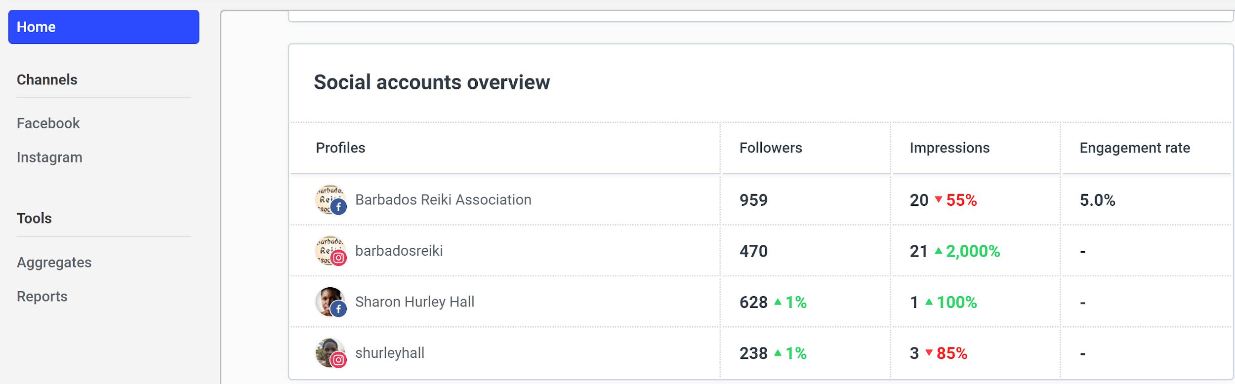 Buffer Analyze screenshot - Social accounts overview
