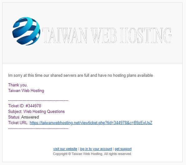 Taiwan Web Hosting Support