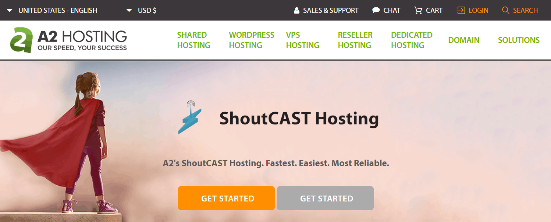 A2 Hosting's Shoutcast Hosting Landing Page