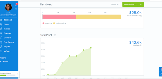 FreshBooks screenshot - Dashboard