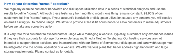 "'How do you determine ""normal"" operation?' question regarding unlimited storage on Bluehost's FAQ page"