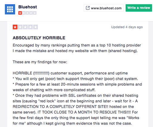 One-star review of Bluehost's customer support