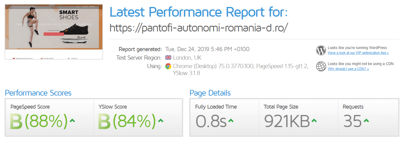 Performanță găzduire web Hosterion