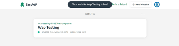 Completion screen for installing WordPress using EasyWP and Namecheap