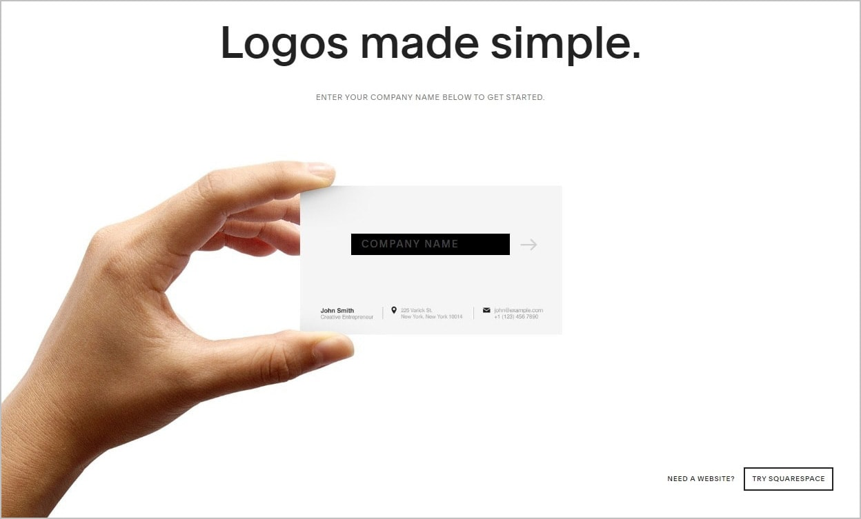 Squarespace Logo Maker homepage screenshot