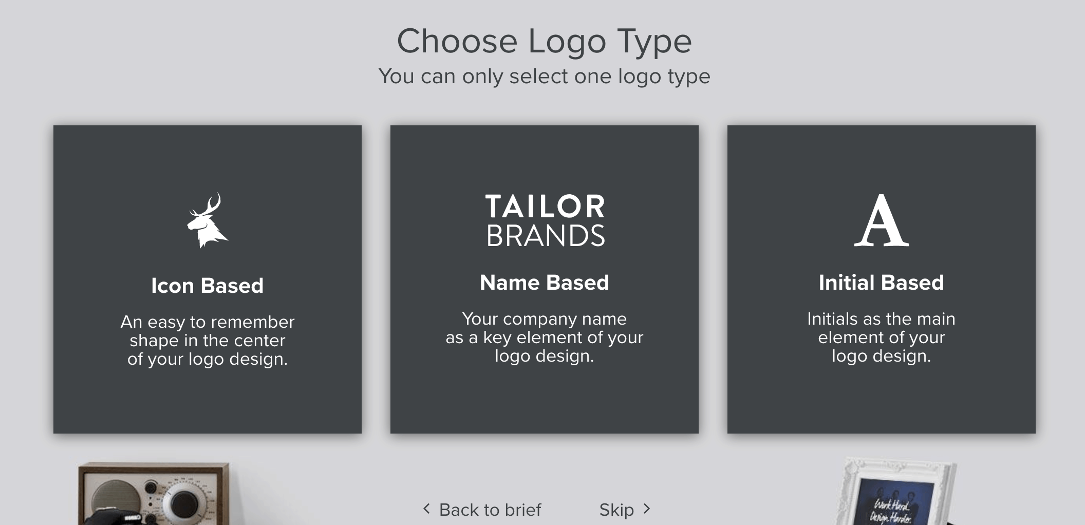 Tailor Brands screenshot - Choose logo type