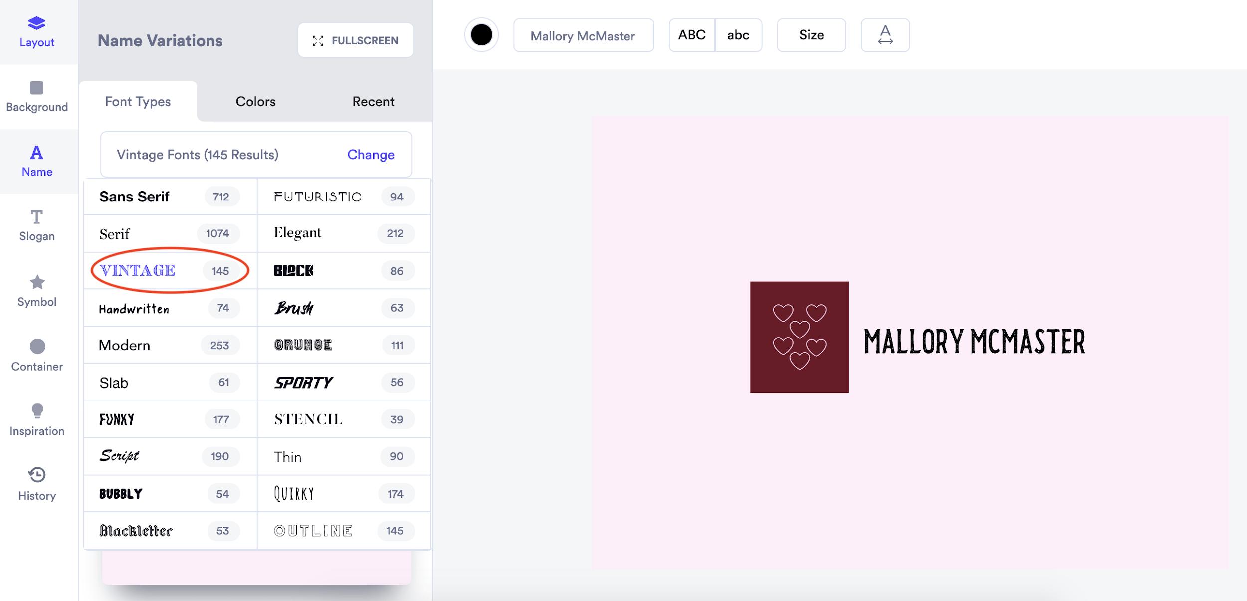 Looka screenshot - Font styles