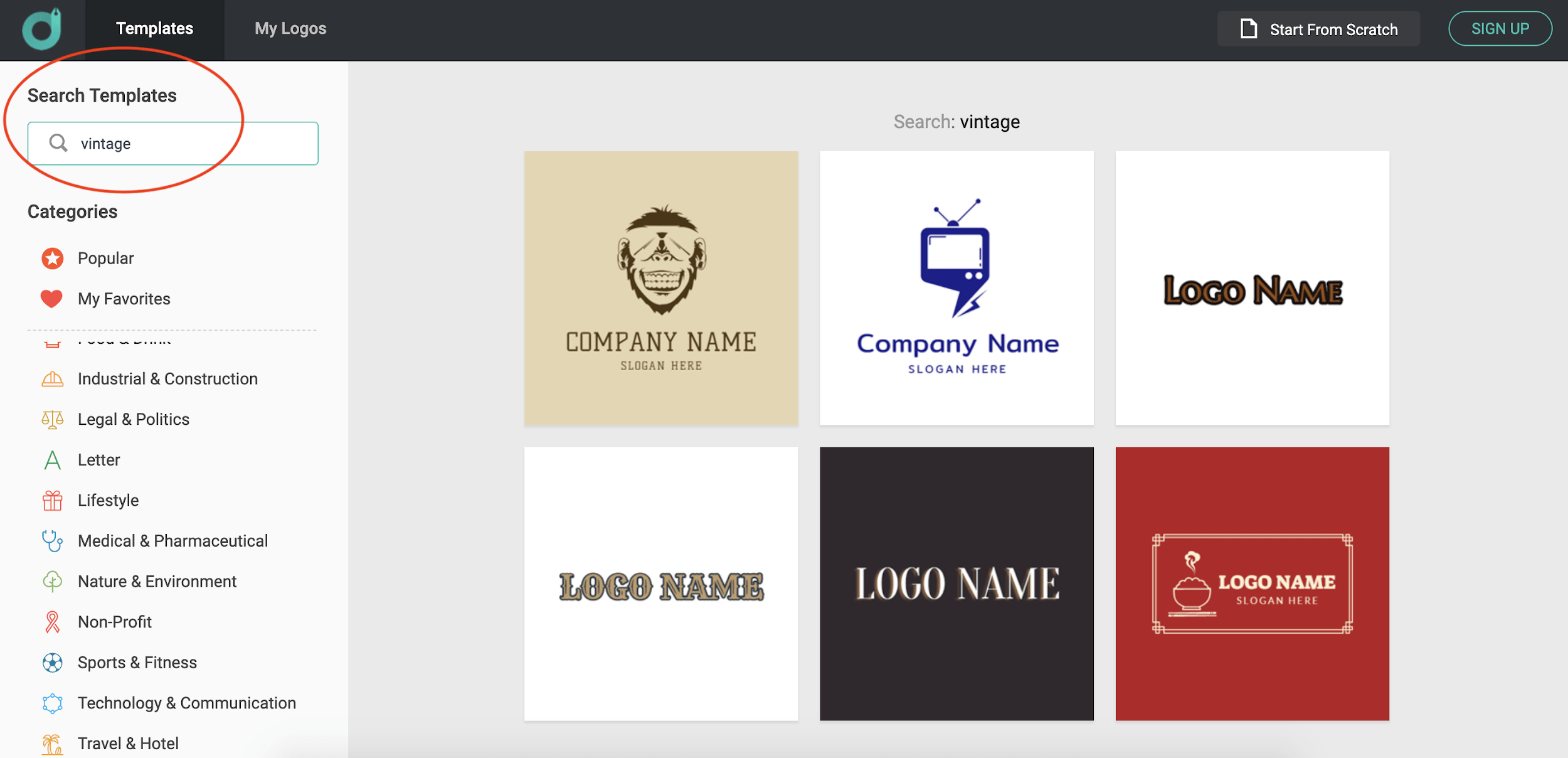 DesignEvo screenshot - Vintage logo templates