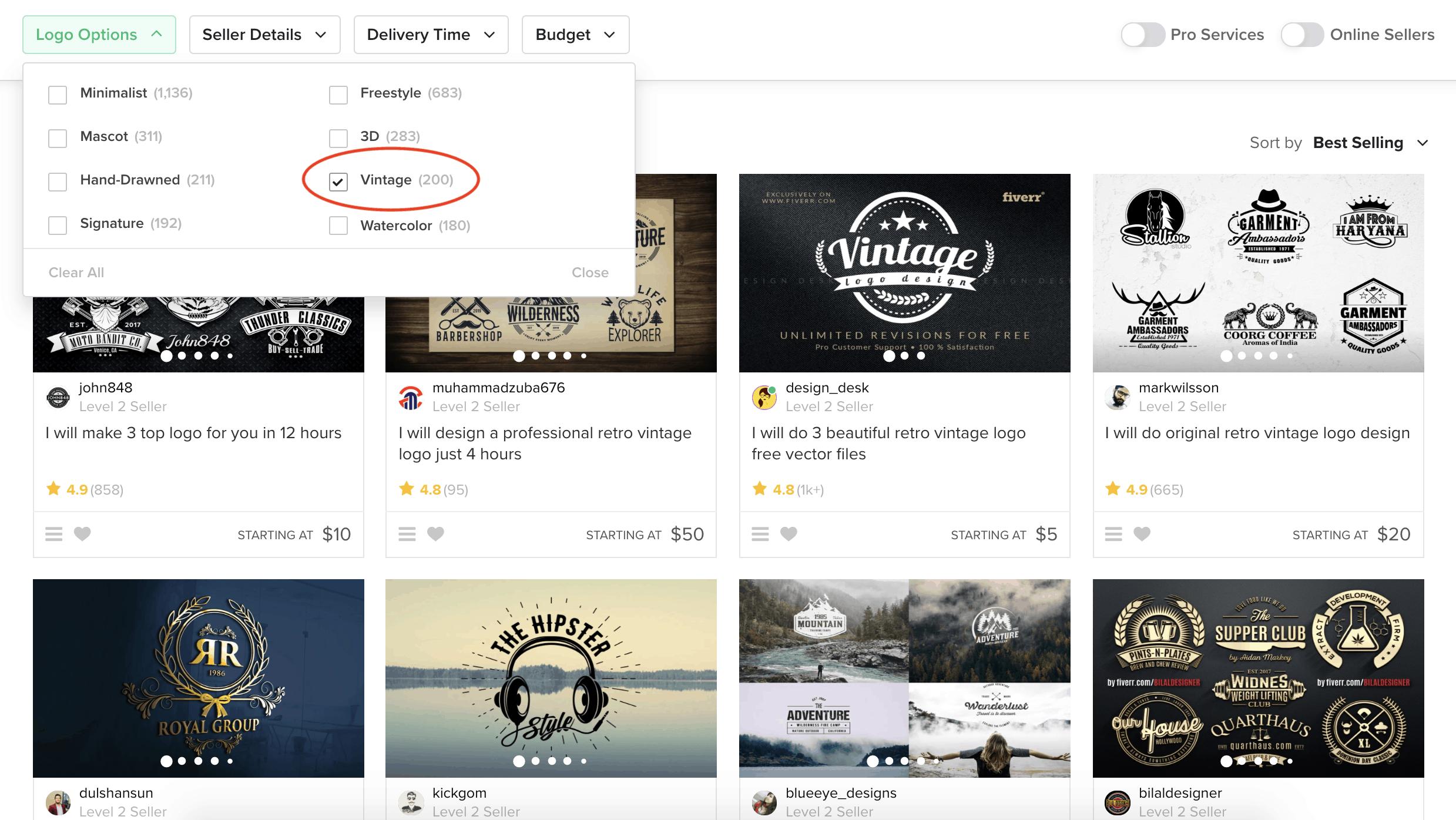 Fiverr screenshot - Vintage logo designers