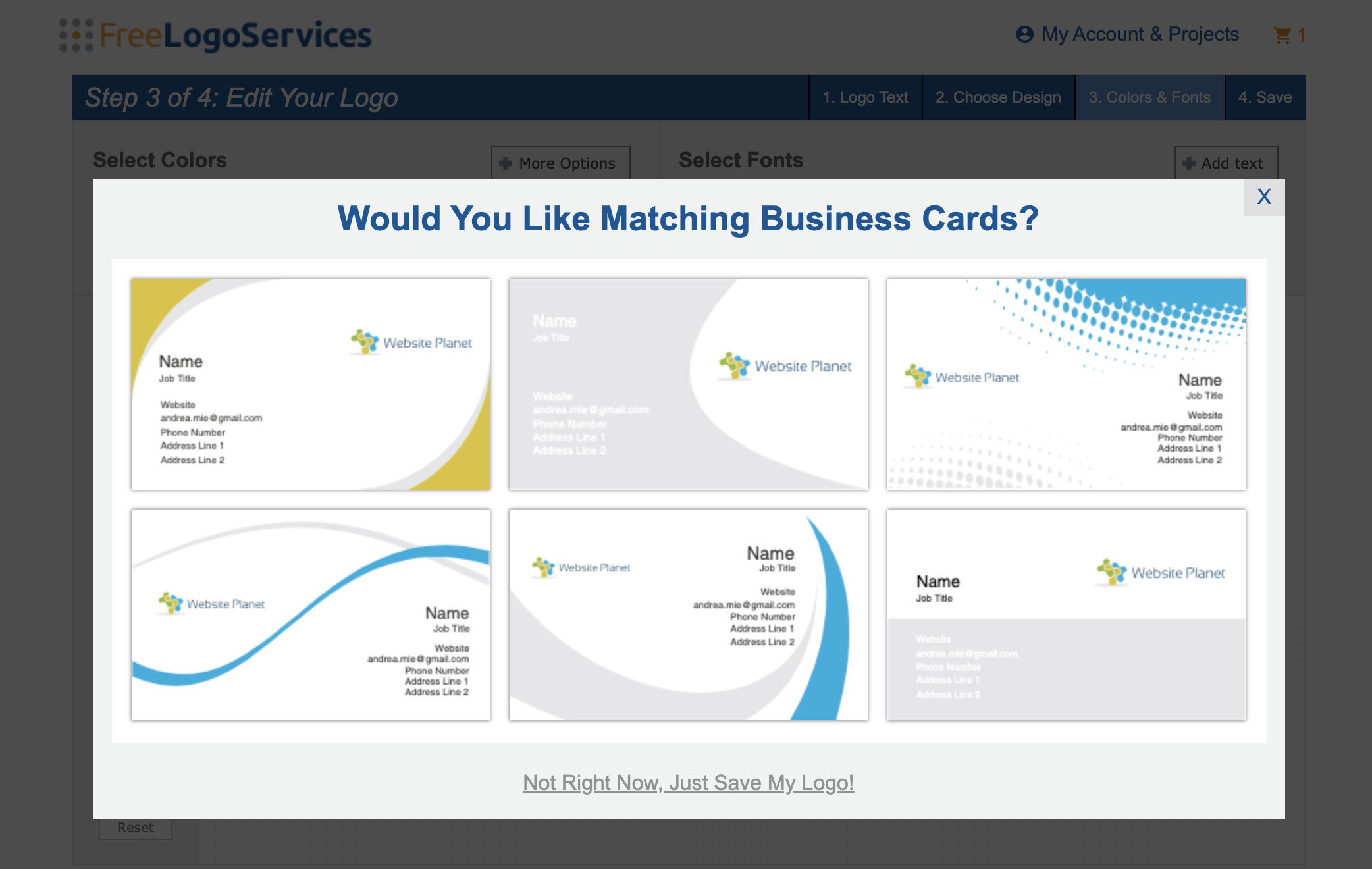 FreeLogoServices screenshot - Matching business cards