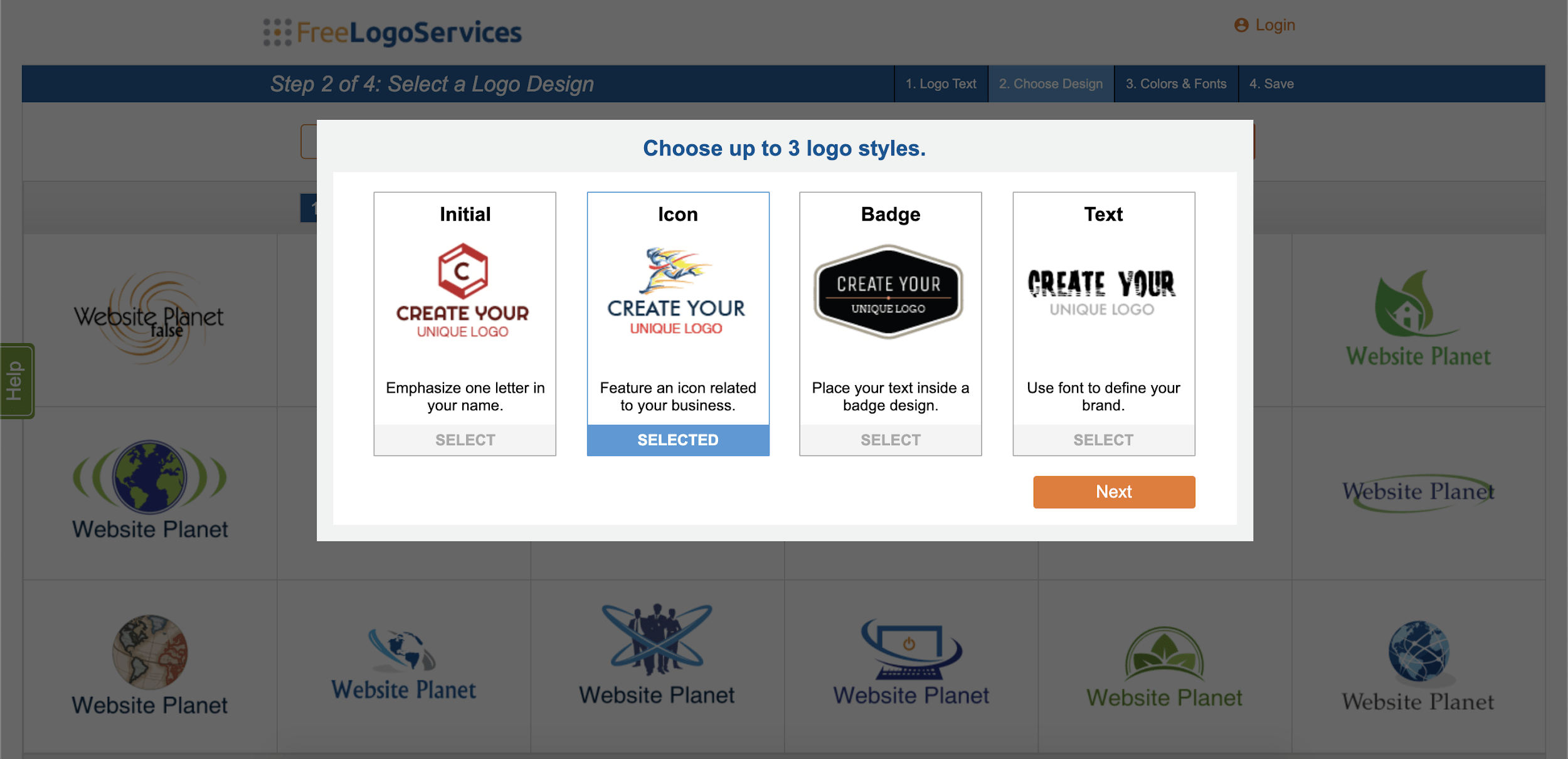 FreeLogoServices review - logo styles screenshot
