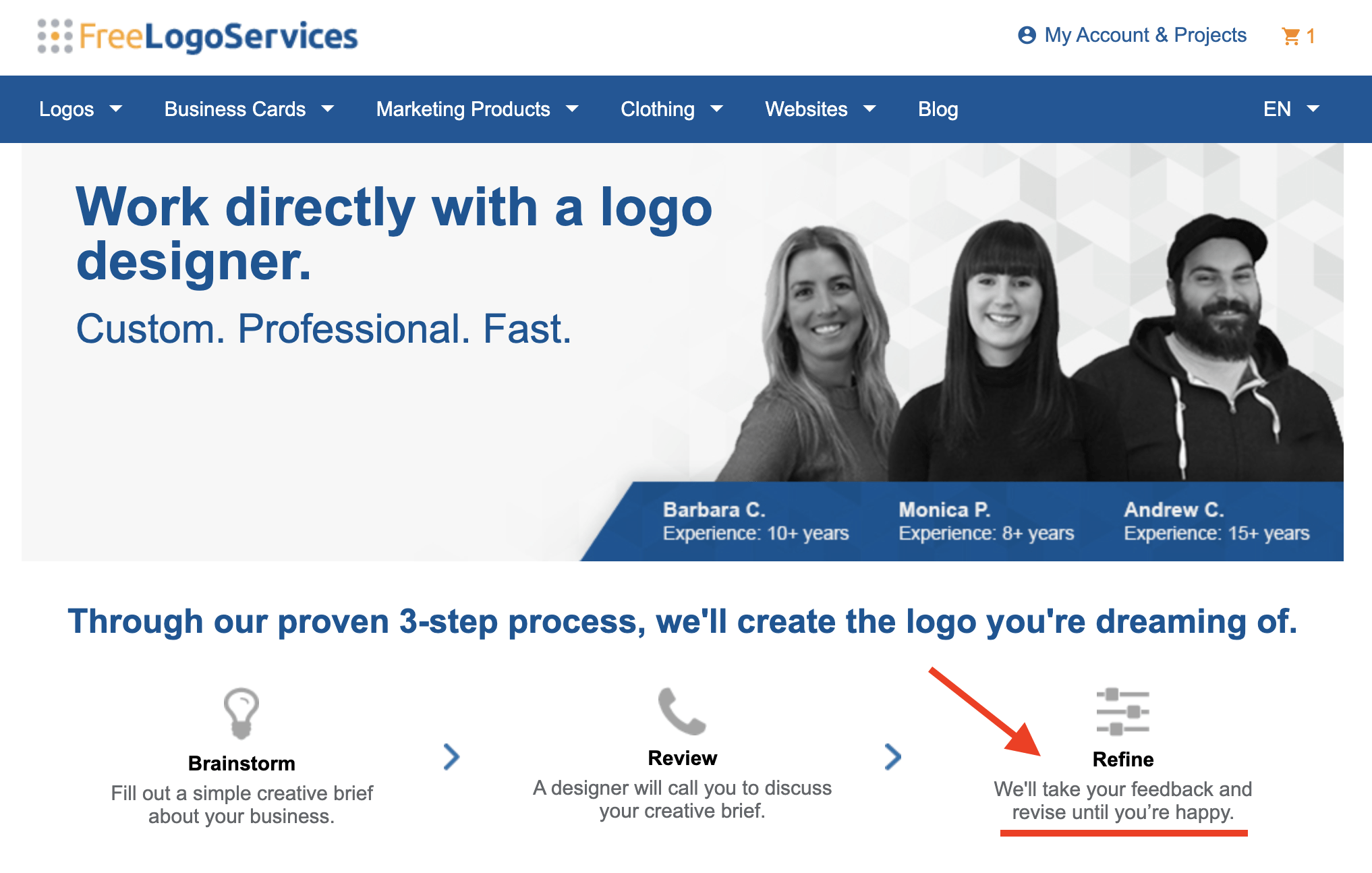 FreeLogoServices review - Work directly with a logo designer