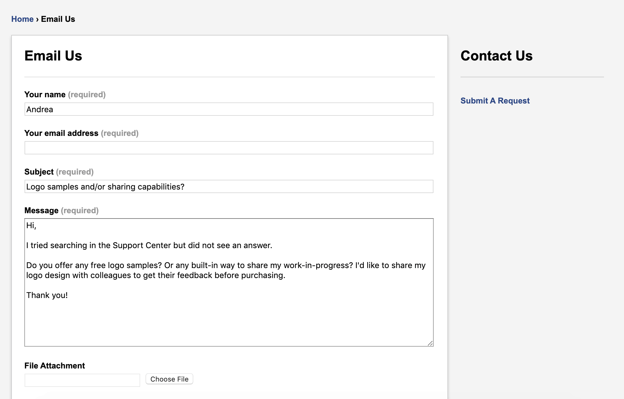 FreeLogoServices screenshot - Contact form