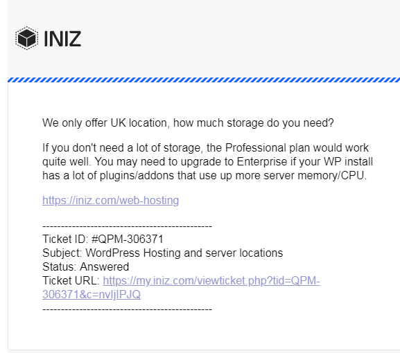 INIZ email received