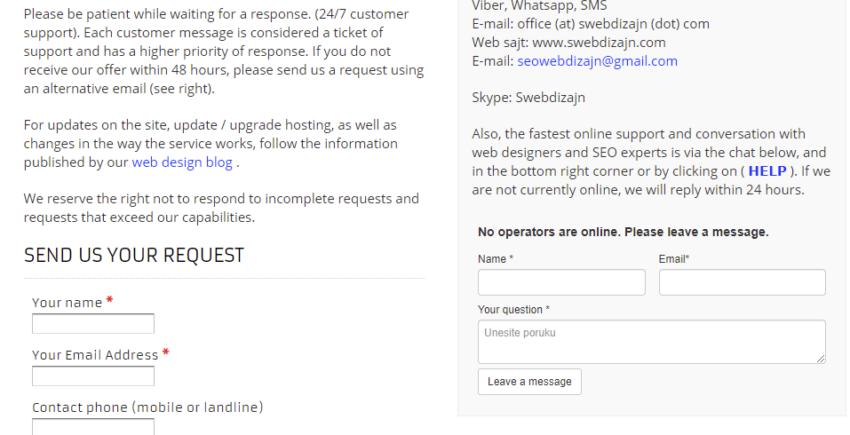 Site Design Contact Seo web design studio Belgrade 850x435