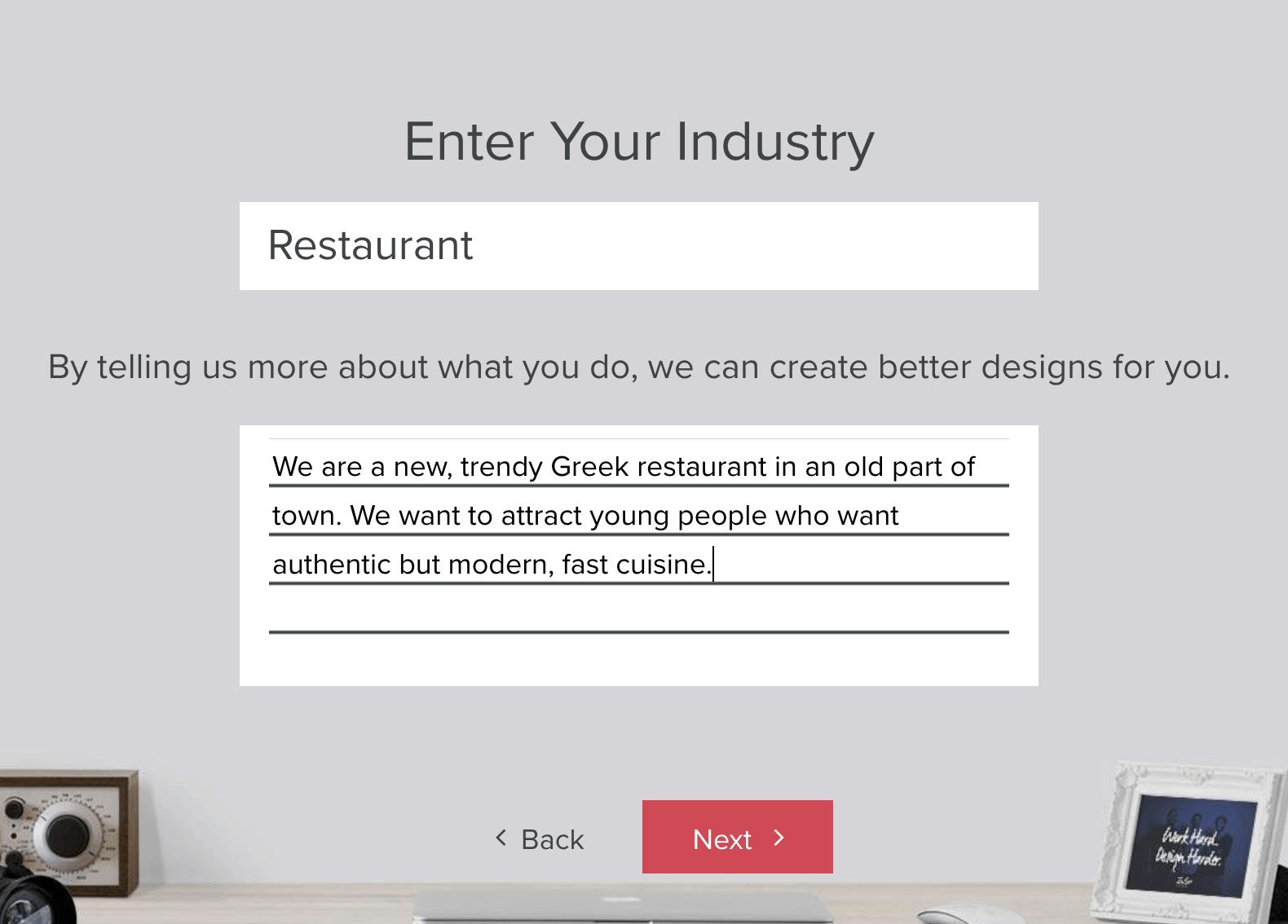 Tailor Brands screenshot - Enter Your Industry