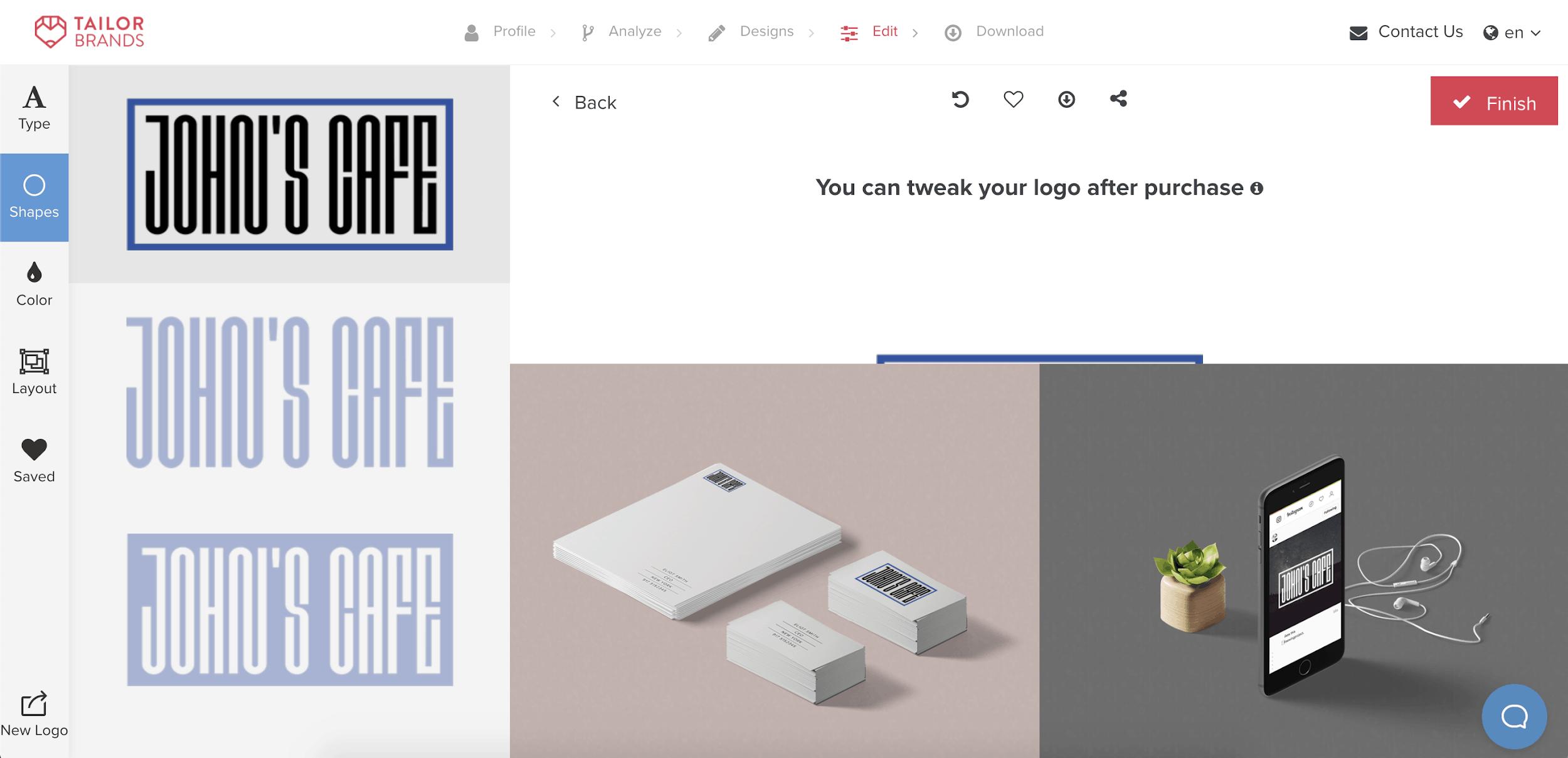 Tailor Brands screenshot - Shapes