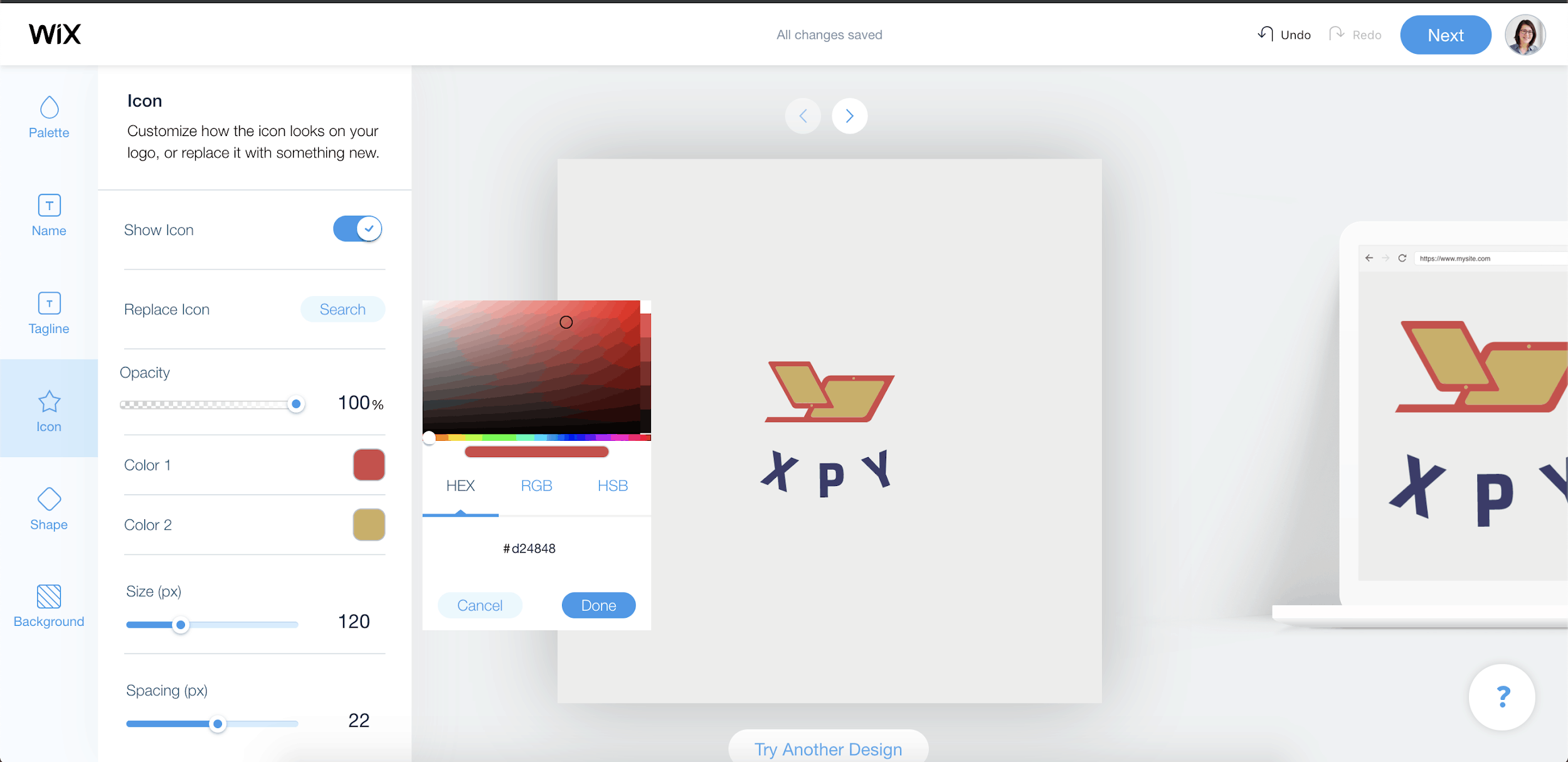 Wix Logo Maker screenshot - Icon editor