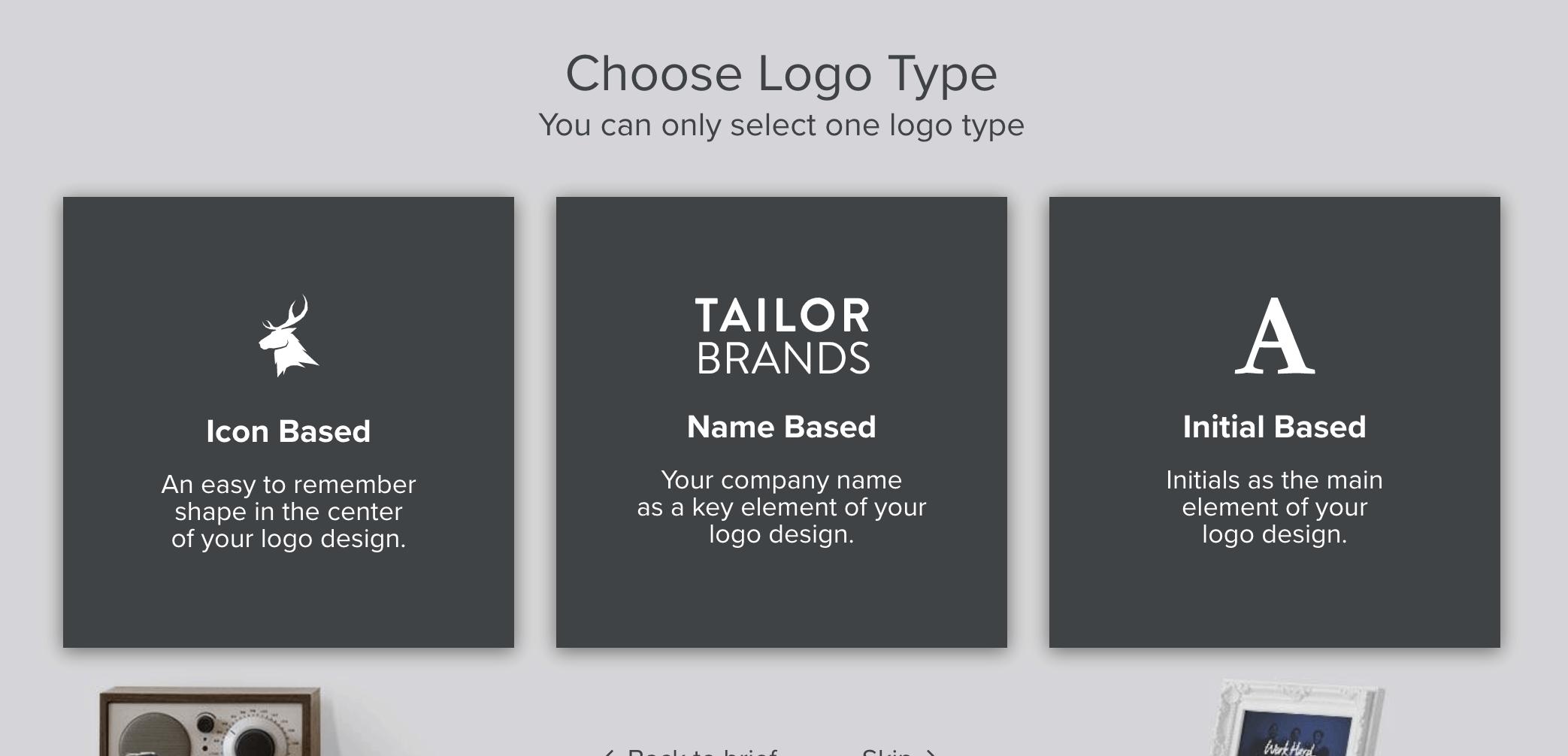 Tailor Brands screenshot - Choose Logo Type