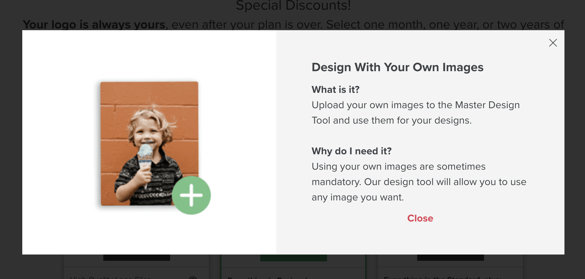 Tailor Brands screenshot - Uploading your own images