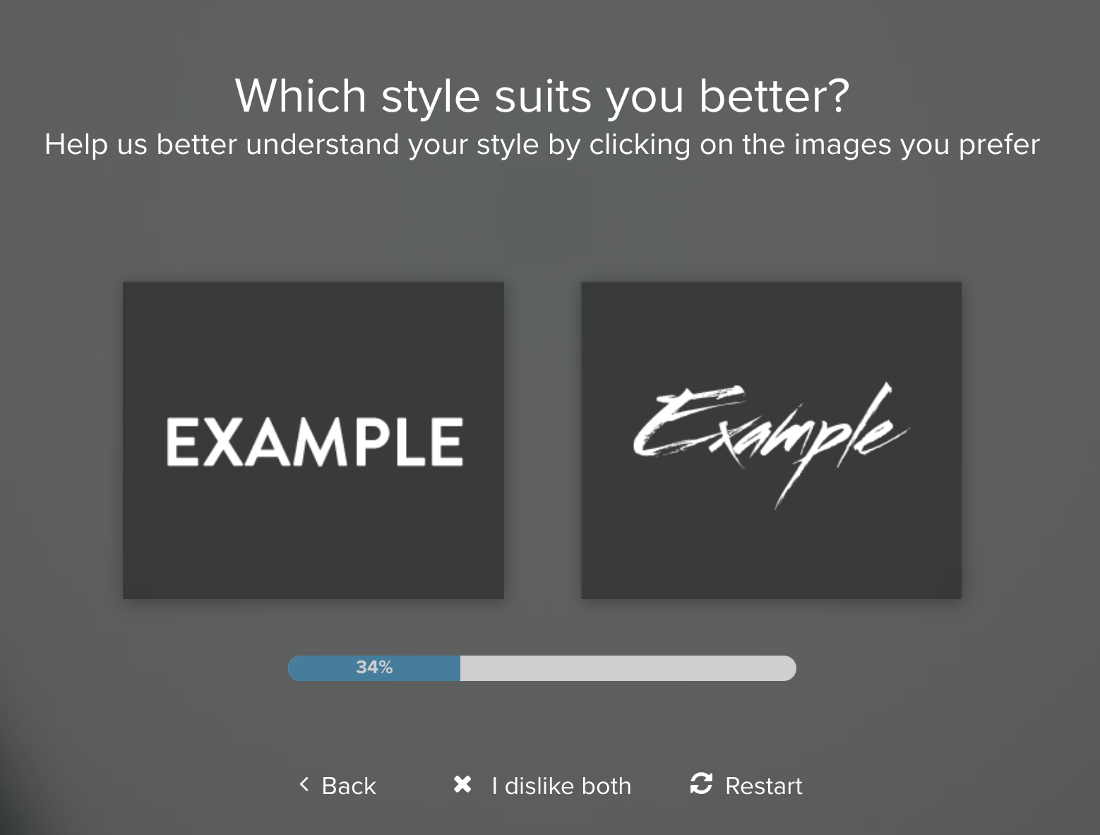 Tailor Brands screenshot - Font Selection