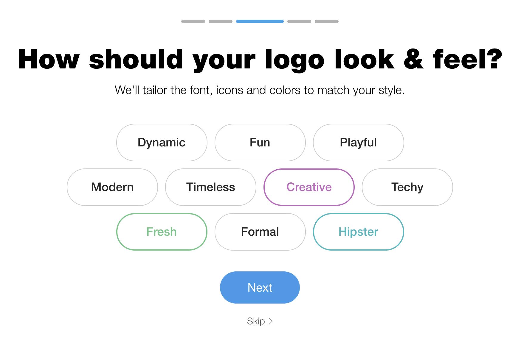 Wix Logo Maker screenshot - Brand identity word cloud