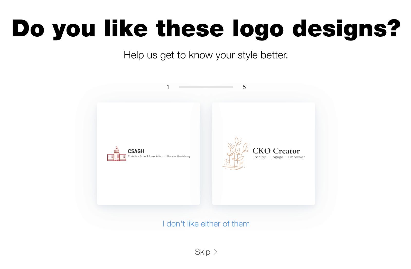 Wix Logo Maker screenshot - Logo styles