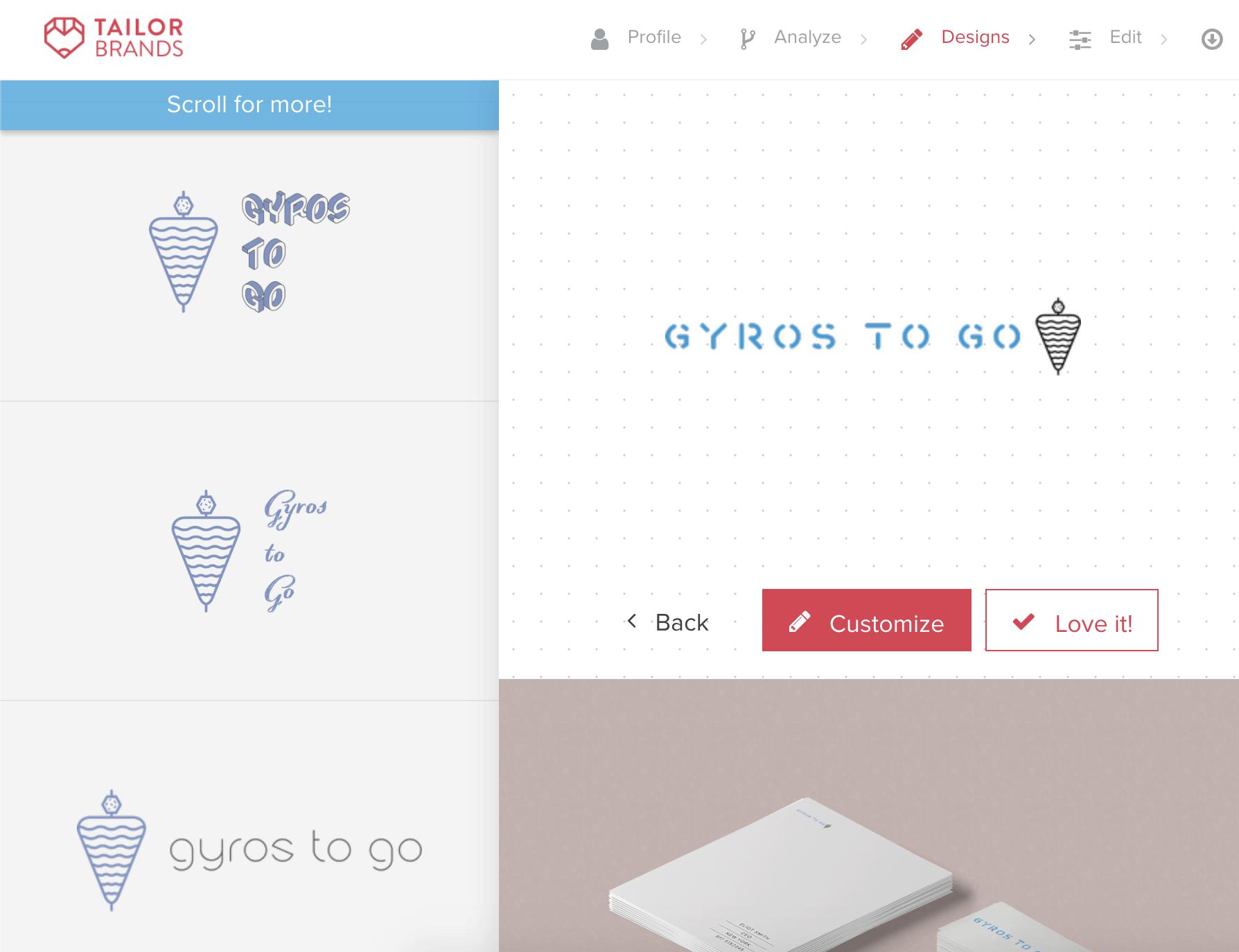 Tailor Brands screenshot - AI-generated logos