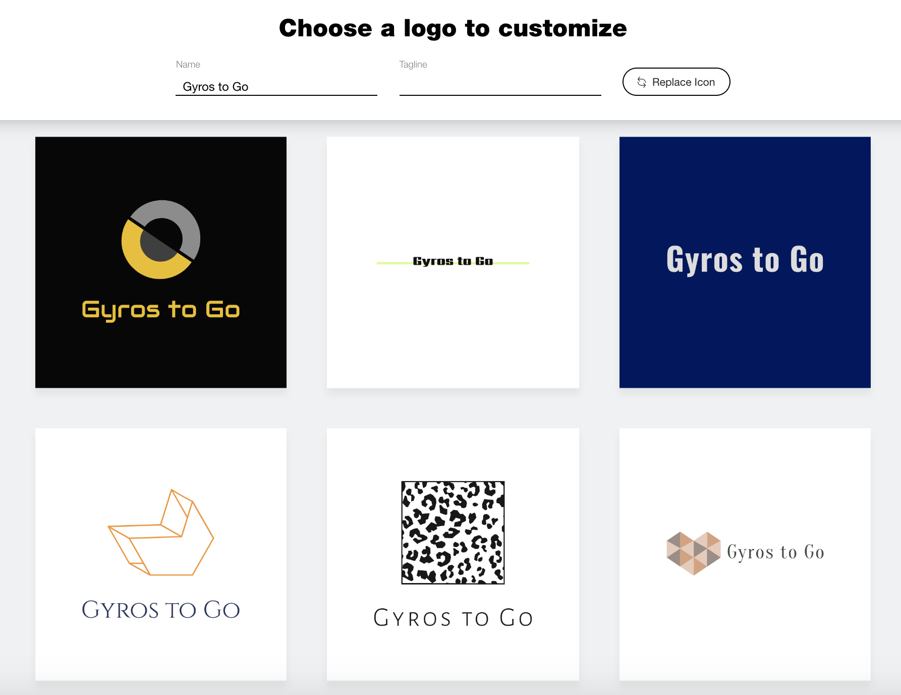 Wix Logo Maker screenshot - AI-generated logos
