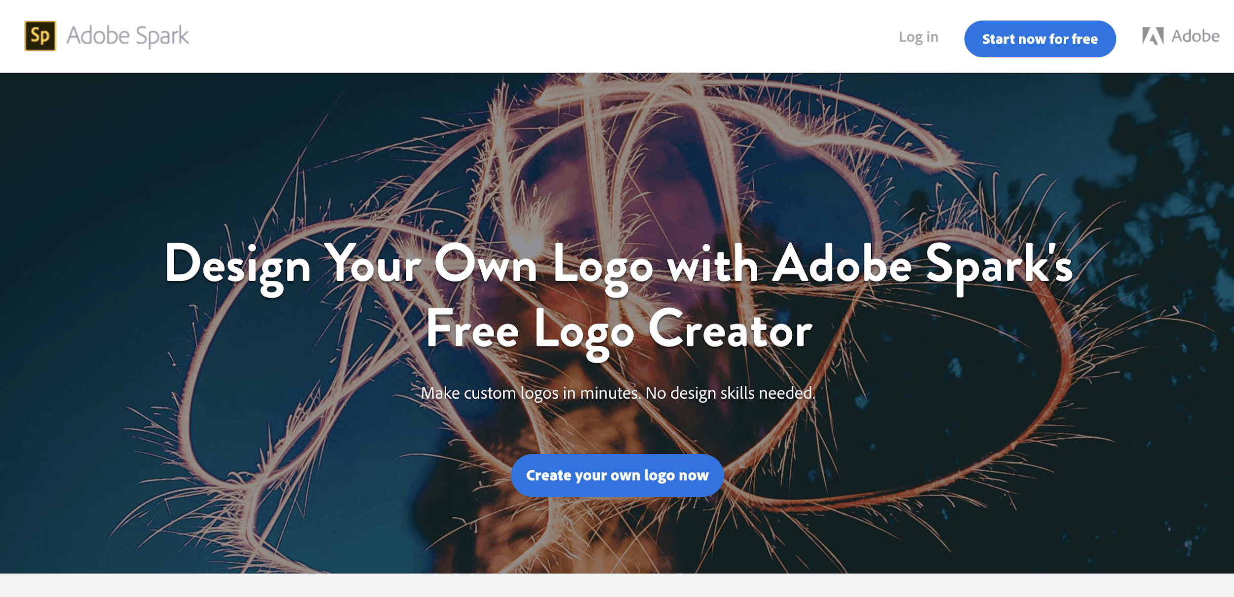 Adobe Spark free logo creator - homepage screenshot