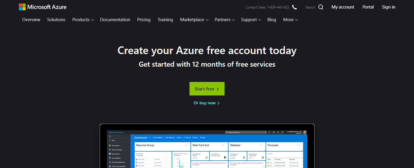 Microsoft Azure website homepage