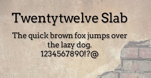 Free font - Twnetytwelve Slab