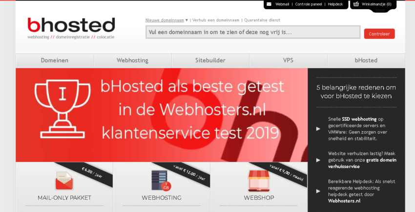 bHosted main page