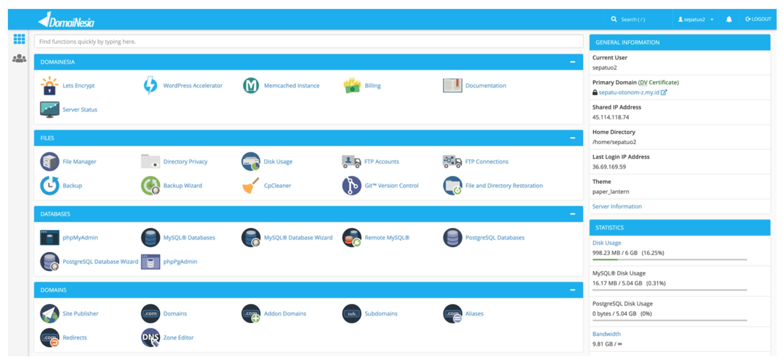 cPanel hosting Domainesia