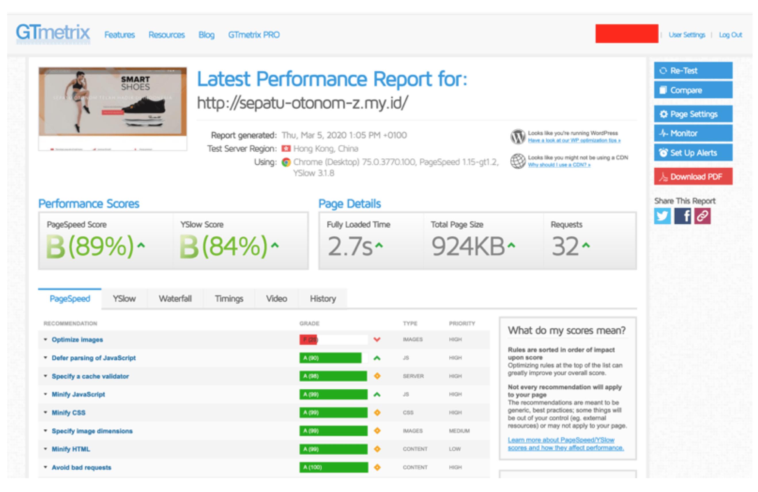 Hasil cek kecepatan website hosting di Domainesia