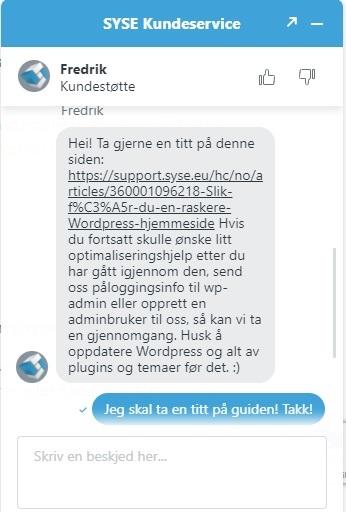 SYSE Kundestøtte på Chat