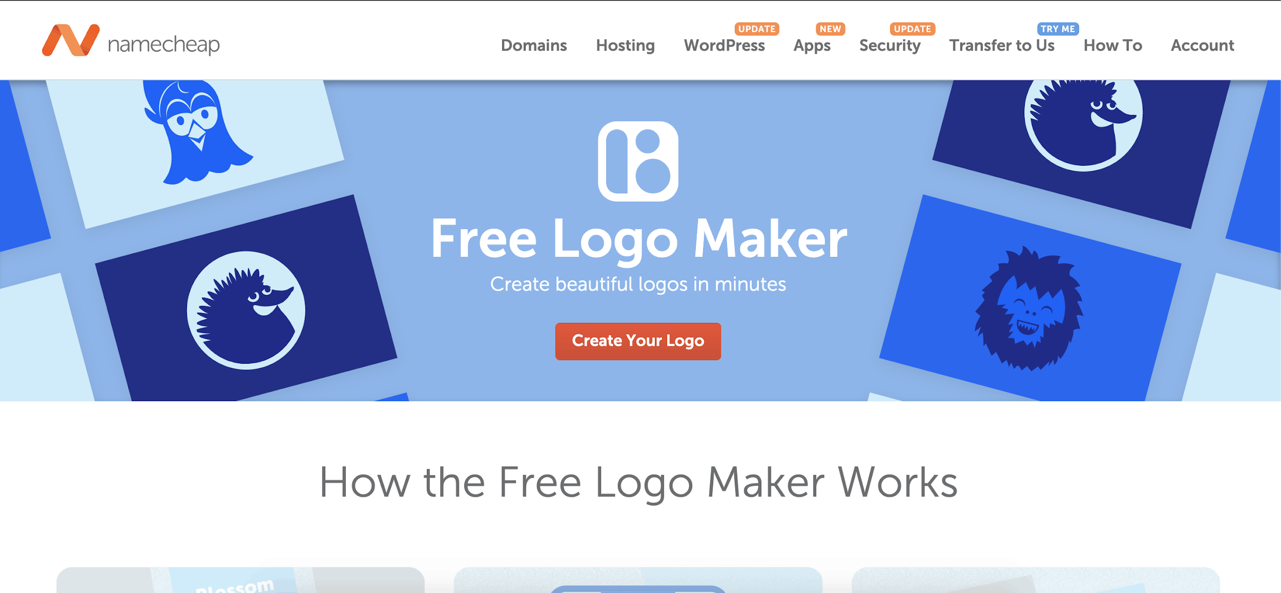 Namecheap Free Logo Maker - homepage screenshot