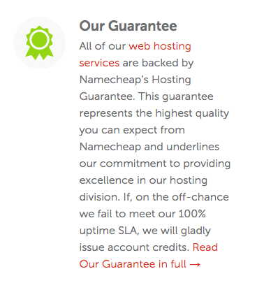 Namecheap's sales page guarantee on uptime