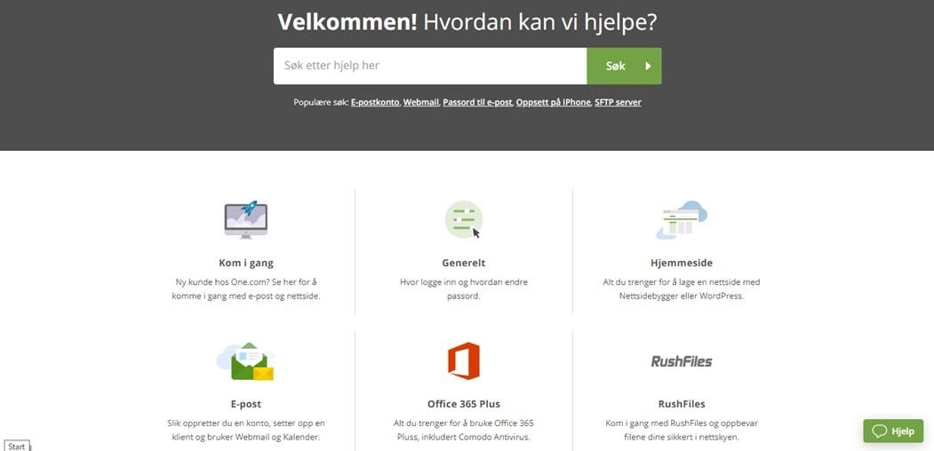 One.com hjelpesenter