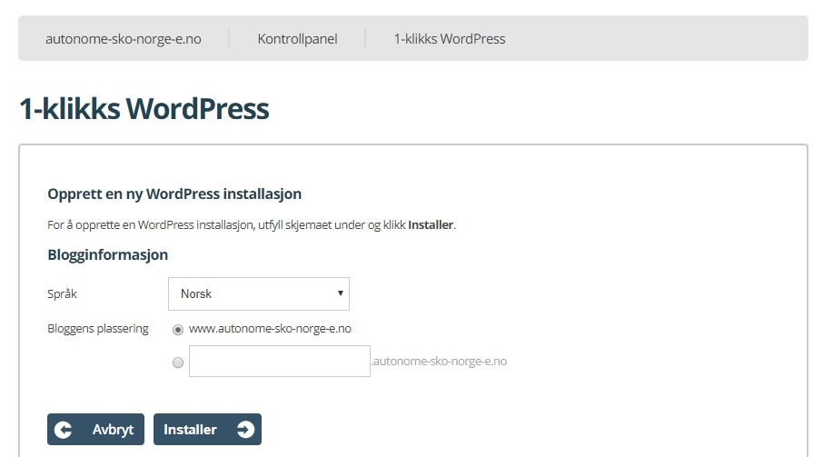 1-klikks WordPress installasjon