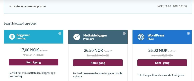Priser for webhotell og nettstedbygger One.com