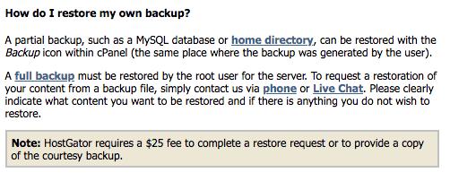 'How do I restore my own backup?' answer for Hostgator hosting