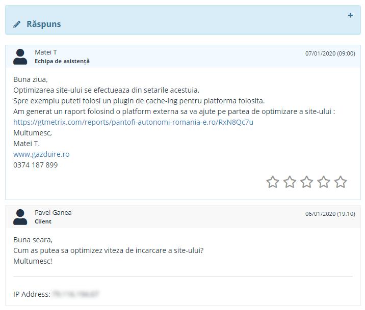 Test asistență Găzduire.ro