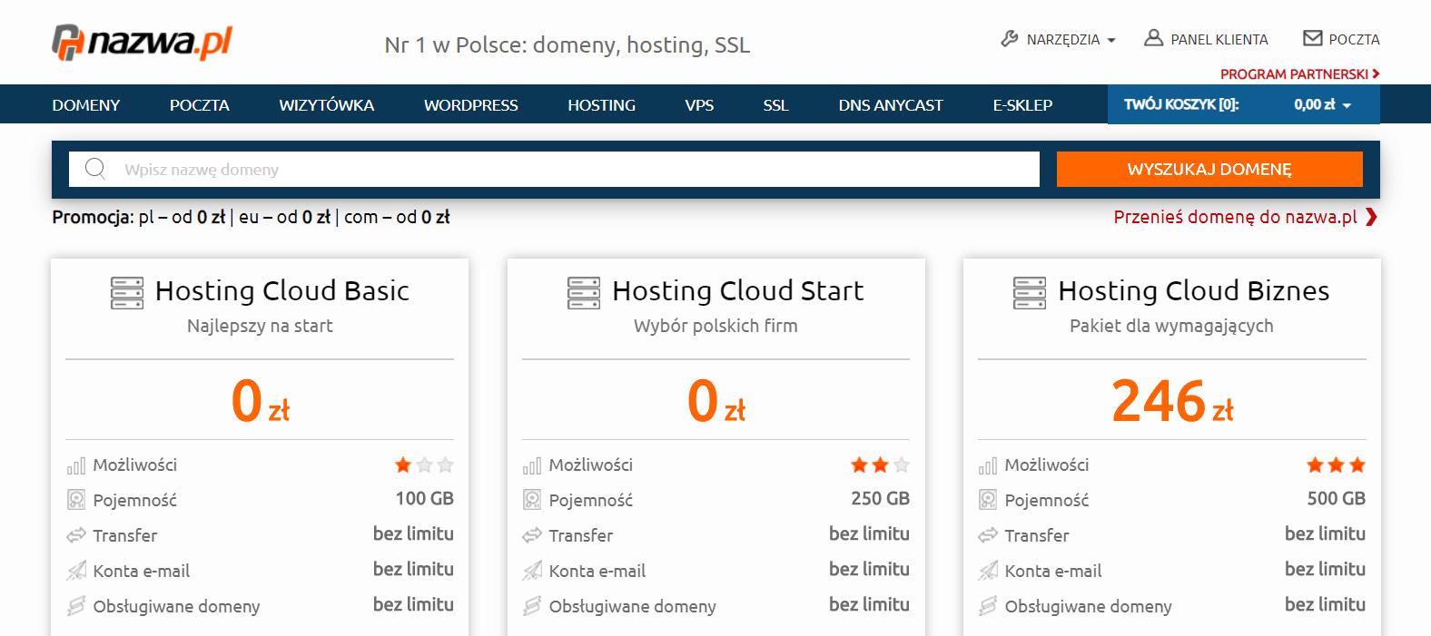 zrzut ekranu strony głównej nazwa.pl