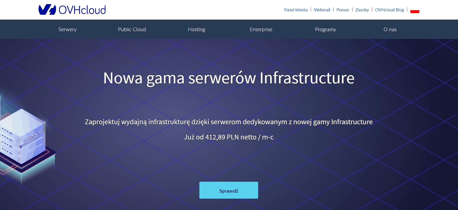 zrzut ekranu strony głównej ovh.pl