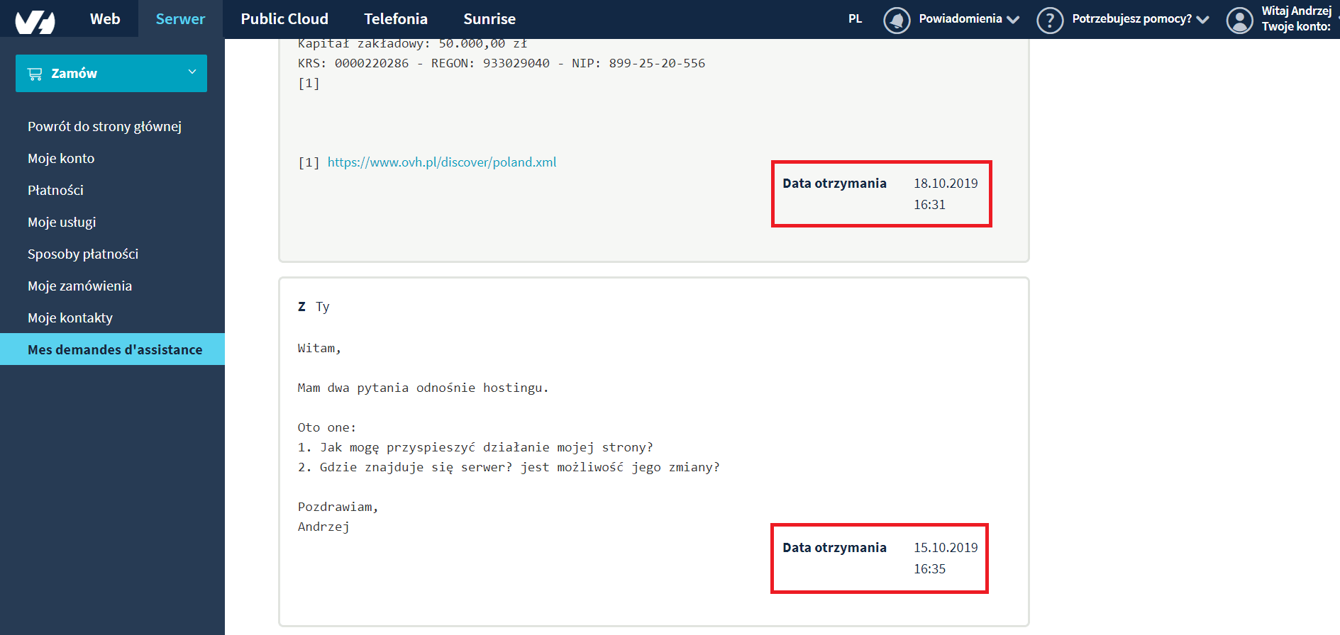 pomoc techniczna ovh.pl